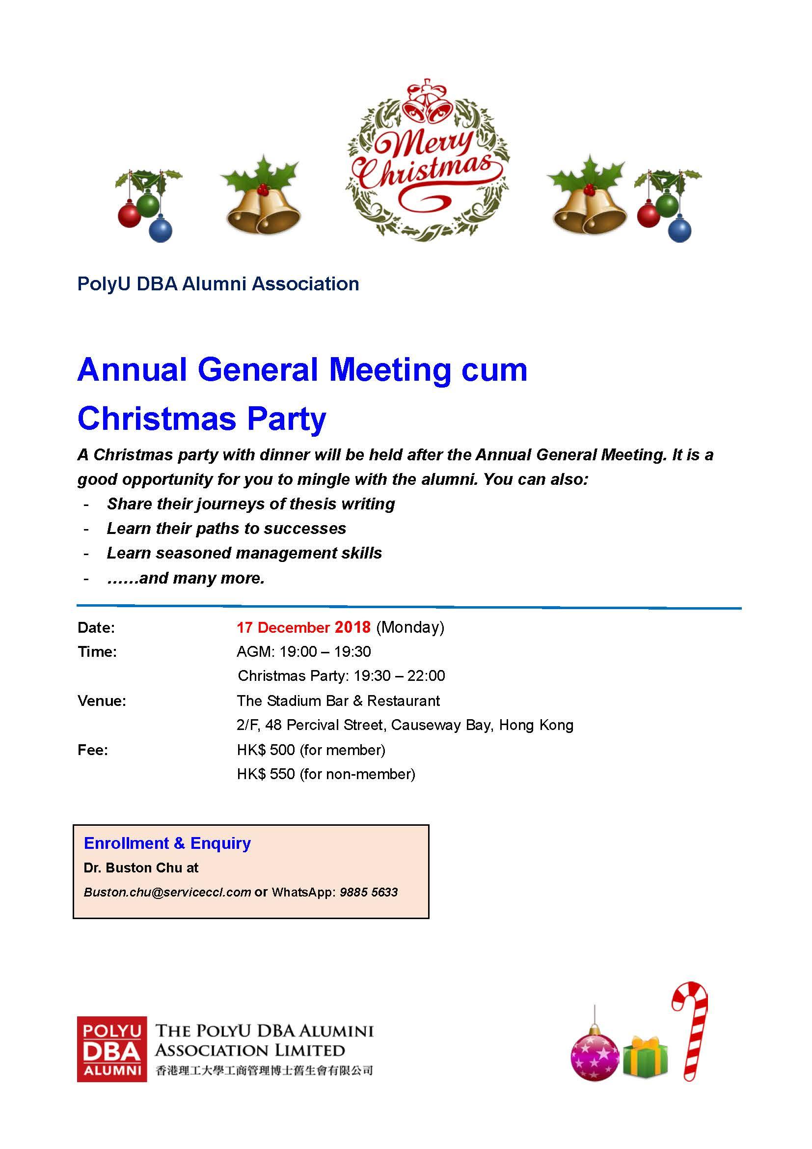 AGM cum Christmas Party Monday 17 Dec 2018